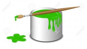 11133876-Seau-de-peinture-verte-et-une-brosse-Banque-d'images